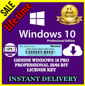 ✔️✔️Windows10 Pro Instant Activation ✔️✔️Professional 64-32 bit Genuine✔️✔️.
