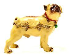 Bejeweled Pug Dog Trinket Box. Hand Made with Enamel & Swarovski Crystals