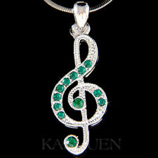 w Swarovski Crystal ~Green TREBLE g CLEF~ Musical music NOTE Chain Necklace Cute
