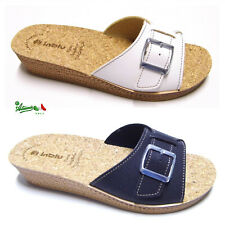 INBLU ciabatte pantofole donna fibbia comode basse solettaSUGHERO aperte DI 68