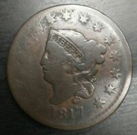 1817 Coronet Head Large Cent 15 Stars Very Good VG Chocolate Brown EAC