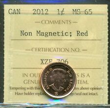 2012 Canada One Cent ICCS Certified MS-65; RED Non Magnetic