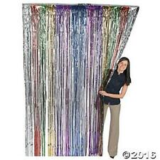 Rainbow Metallic Fringe Curtain Party Foil Tinsel Room Decor 3' x 8' Wholesale
