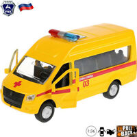 Diecast Vehicles Scale 1:36 GAZelle NEXT Russian Reanimation Ambulance Model Car
