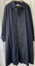 Mens Mr Harry Navy Long Trench Coat With Detachable Tartan Lining Size 42