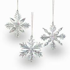 SIKORA BS131 Set of 3 Christmas Tree Decoration Glass Ornament Snowflakes