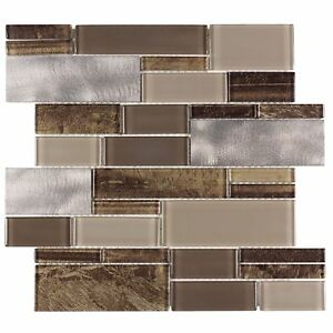 Modern Linear Brown Glossy Metallic Glass Metal Backsplash Tile Wall MTO0005