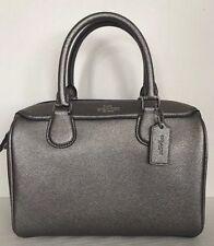 New Coach F39706 mini Bennett Satchel Leather handbag Metallic Gunmetal