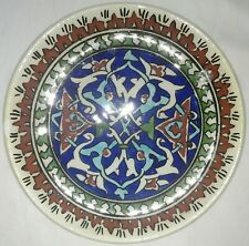 "vintage hand painted 6-1/2"" plate made in Turkey blue, green, rust, turquoise"