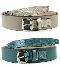 NEW Auth GUCCI Mens Leather Crocodile Belt w/Square buckle 341747 btt60