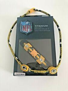 "Green Bay Packers Bracelet Titanium Sport 7"" Team Logo Jewelry Bonus Necklace"
