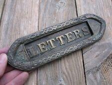 Antico piccolo Recuperata in OTTONE Cassetta Delle Lettere Piastra/porta slot Posta/Cassetta postale