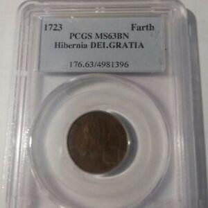 Very Rare 1723 US Colonial Hibernia Ireland Farthing PCGS MS 63