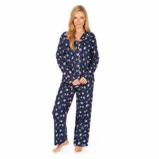 Ladies Forever Dreaming Flannel Jersey PJ Pyjamas Set Loungewear Cotton Mixed