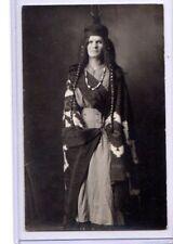 Real Photo Postcard RPPC Caucasian Woman in Pendleton Blanket as Native American