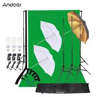 Andoer Photo Studio Kit Photography Light Bulb Backdrop Stand E27 Light D4U8