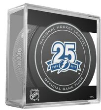 2017 2018 TAMPA BAY LIGHTNING PUCK 25TH ANNIVERSARY W/CUBE NHL STANLEY CUP FINAL