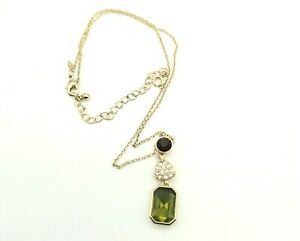 Avon Gold Tone Trace Chain Necklace Drop Pendant Green Red Clear Rhinestones