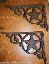 "Set/2 ~9"" Western Star Texas Rustic Cast Iron Shelf Support Wall Brackets Lodge"