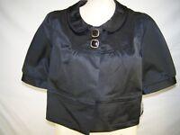 Apt. 9 Black Metallic Short Sleeve Crop Blazer Womens Size Large 12 14 Petite PL