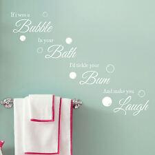 Bathroom Quote Wall Art Sticker Bubble Bath Laugh Vinyl Decal Transfer Graphic