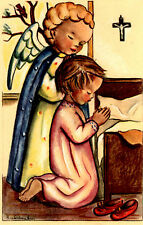 "Vintage Netherlands Postcard Praying Young Girl & an Angel 3.5"" x 5.5"""