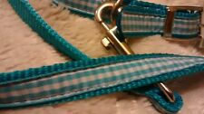 East Side Collection Seaside Ribbon Dog Lead & Collar, 11 to 14 in Blue Gingham