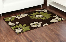 CHOCOLATE BROWN LIME GREEN FLORAL FLOWER RUG 120x165