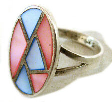 with Mother of Pearl Stone Inlays Taxco Mexico .925 Sterling Silver Ring