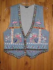Vintage Women's Western Vest Embroidered Floral Front Denim Size M by Elco