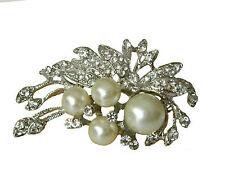 Luxuriös Braut Korsage Creme Weiße Perlen & Diamant Strass Brosche BR91
