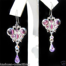 Purple BUTTERFLY made with Swarovski Crystal Bridal Wedding Jewelry Earrings New