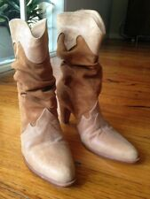 White Suede by Jacqui Demkiw Cowboy Boots - size 37 - slouch, high heel, tan
