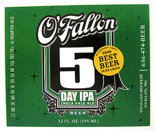 O'Fallon Brewery O'FALLON 5 DAY IPA beer label MO 12oz  2008 Best Beer St. Louis