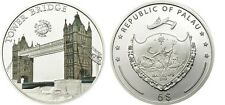 2011 Palau Large  Proof Color Silver $5 TOWER BRIDGE London