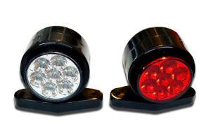 2 x 12V RED WHITE 14 LED STALK OUTLINE SIDE MARKER CLEARANCE LIGHTS TRUCK LORRY