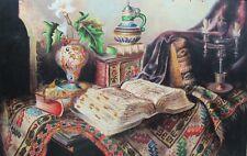 Large Antique Still Life Painting w/ Oriental Rug  IGNAZ SCHONBRUNNER  c. 1930