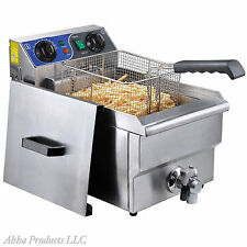 Commercial Restaurant Stainless 10L Table Top Fry Basket Deep Fryer Machine Oven