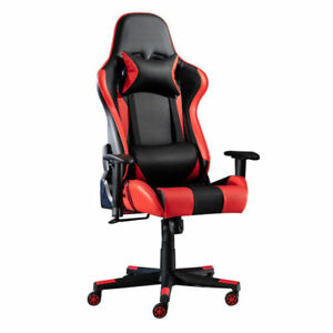 Computer PC Gaming Chair Office Adjustable Swivel Red Modern Chair With Footrest