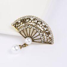 Crystal Pearl Enamel Vintage Gold Fan Brooch Pin Collar Costume Women Jewelry