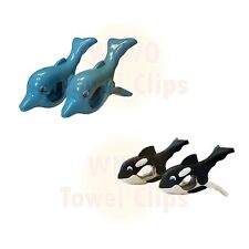WIWO 2 Pairs of Towel Clips - Dolphin & Whale