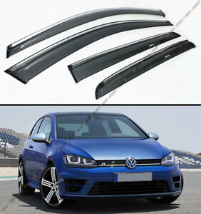 FOR 2015-19 VW MK7 GOLF 7 GTI E-GOLF CLIP ON CHROME TRIM WINDOW VISOR RAIN GUARD