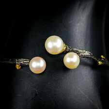 New Arrived 2020 Natural Pearl 925 Sterling Silver Bangle Inches 2.5/BA01276