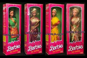 Barbie in India Doll Blonde Brunette Various Saris Plastic Wrapped Box Leo Lot 4