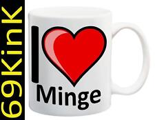 m130 I Love Heart MINGE cup mug SECRET santa XMAS Sex gift toy Gay Stag HEN