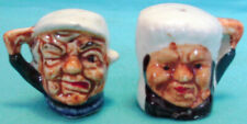 Vintage Miniature Toby Mub Salt & Pepper Shakers Withered Couple Cork Stoppers