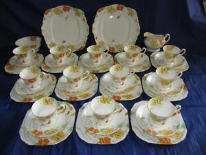 ~RARE~ Royal Paragon Nasturtium Pattern Hand Painted China Tea Set for 12 c1929
