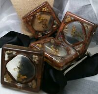 Vintage 1960's Four Acrylic Coasters Embedded Dry Flowers Butterflies And Seeds