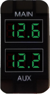GREEN Dual Battery Volt Meter Toyota Prado 120, FJ, Landcruiser 100/79 Hilux <15
