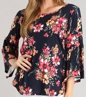 Plus Size Womens Top 1X-3X Navy Floral Plus Bell Sleeves Shirt Peasant Bohemian